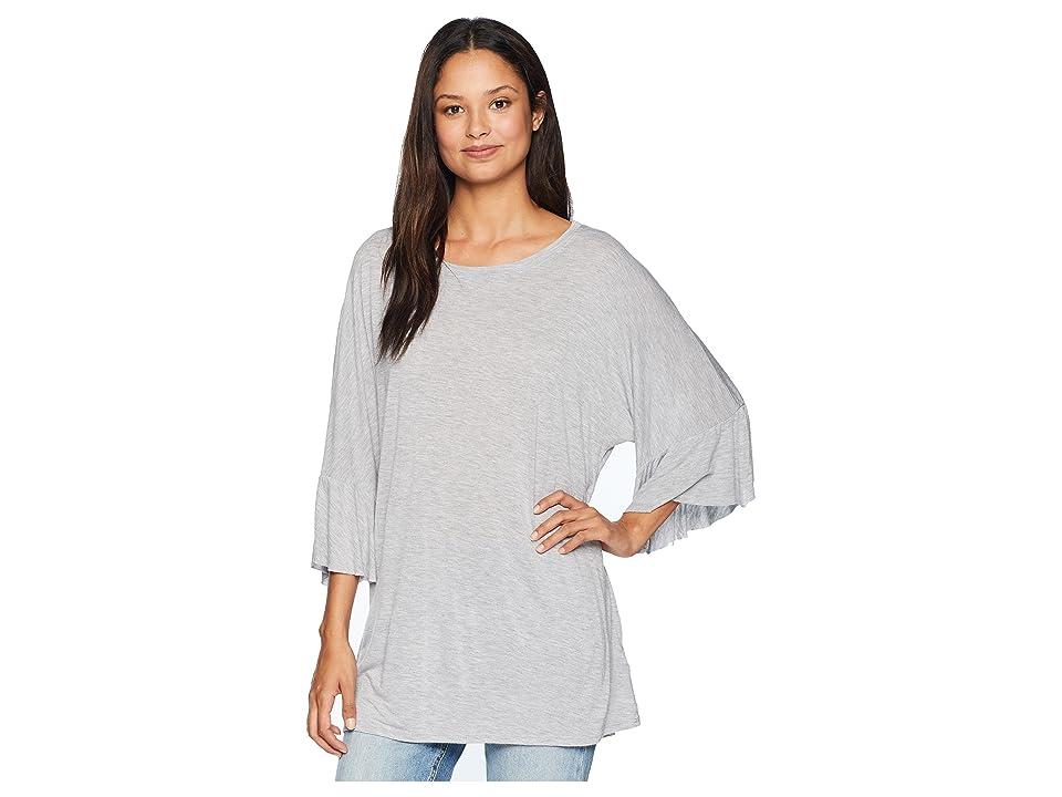 LAmade Erin Ruffle Sleeve Tee (Heather Grey) Women's T Shirt