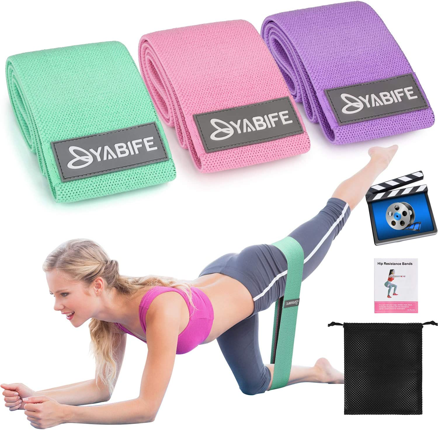 Workout Resistance Bands Loop Fitness Yoga Booty Leg Exercise Band M//L//XL