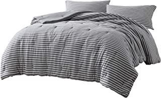 Chezmoi Collection Levi 2-Piece Striped Heather Jersey Knit Cotton Comforter Set - Solid Reversible Lightweight Super Soft and Breathable Bedding Set (Twin, Space Gray/Gray)