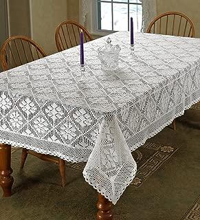 Violet Linen Stars Crochet Vintage Lace Design Tablecloth, 60