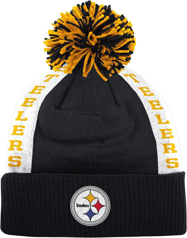 Pittsburgh Steelers Mitchell & Ness NFL Side Bar Premium Cuffed Knit Hat w  Pom