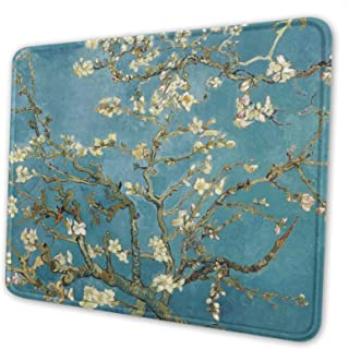 Vincent Van Gogh Blossoming Almond Mouse Pad with Stitched Edge Non-Slip Rubber Mouse Mat Waterproof Desk Mat for Office Home