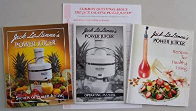 Lot of 2 Jack LaLanne Power Juicer booklets + Operating Manual: Jack LaLanne's Power Juicer: Secrets of Power Juicing, Jack LaLanne's Power Juicer Operating Manual, Jack LaLanne's Power Juicer: Recipes for Healthy Living (+ Q & A Sheet)