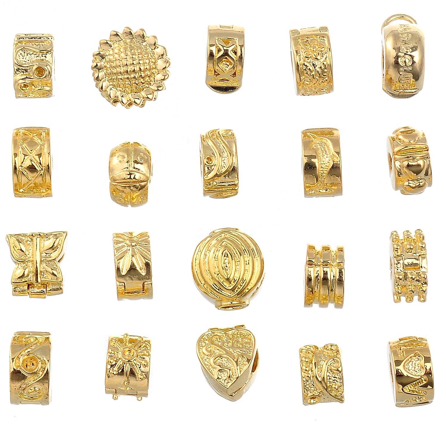 RUBYCA 40pcs Mix Lot of Gold Color Clip Lock Stopper Clasp Beads DIY fit European Charm Bracelet