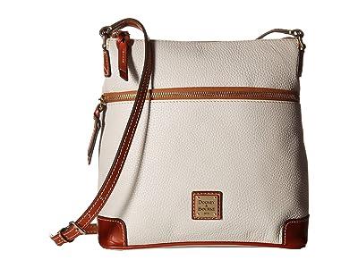 Dooney & Bourke Pebble Leather Crossbody (Ecru/Tan Trim) Cross Body Handbags