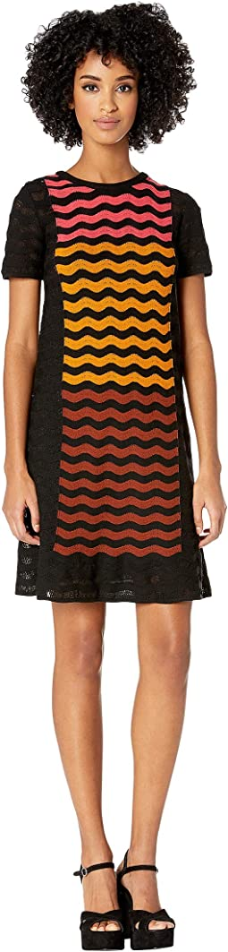 Ripple Intarsia Short Sleeve Dress