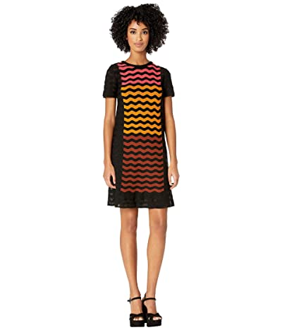 M Missoni Ripple Intarsia Short Sleeve Dress (Black) Women