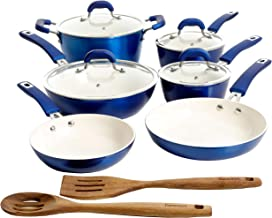 Kenmore Arlington Nonstick Ceramic Coated Forged Aluminum Induction Cookware, 12-Piece Set, Metallic Blue