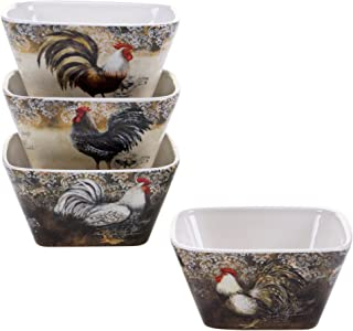 Certified International 57479SET/4 Vintage Rooster Ice Cream Bowls (Set of 4), 5.5