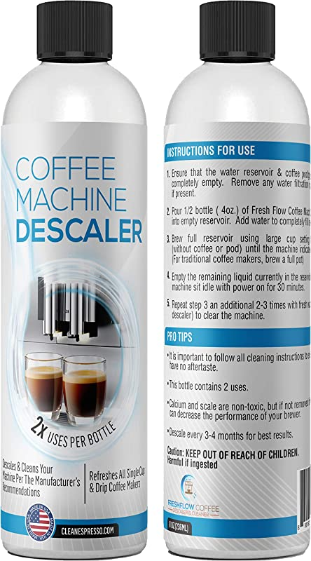 4 Use 2 Pack Of 2 Use Bottles Liquid Descaling Solution For Keurig Nespresso Ninja Delonghi All Single Use Or Drip Coffee Machines Espresso Makers Descaler Made In The USA By FreshFlow
