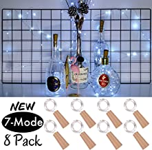 7-Mode Wine Bottle Cork String Lights,8 Pack Upgraded Newest Patented Multifunction Battery Operated LED Cork Fairy Mini Lights for Party,Christmas,Halloween,Wedding,DIY Decor (Cool White)