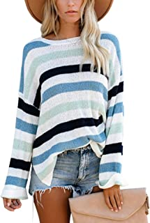 Hibluco Women's Round Neck Bell Long Sleeve Color Block Knit Sweater Casual Pullover Jumper Tops