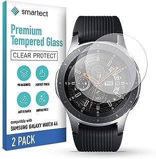 smartect 9H Skärmskydd i härdat glas kompatibel med Samsung Galaxy Watch 46 mm [2-Pack] - Ultratunn design - Anti-rep-fing...