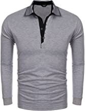 COOFANDY Men's Long Sleeve Polo Shirt Slim Fit Cotton Polo T Shirts