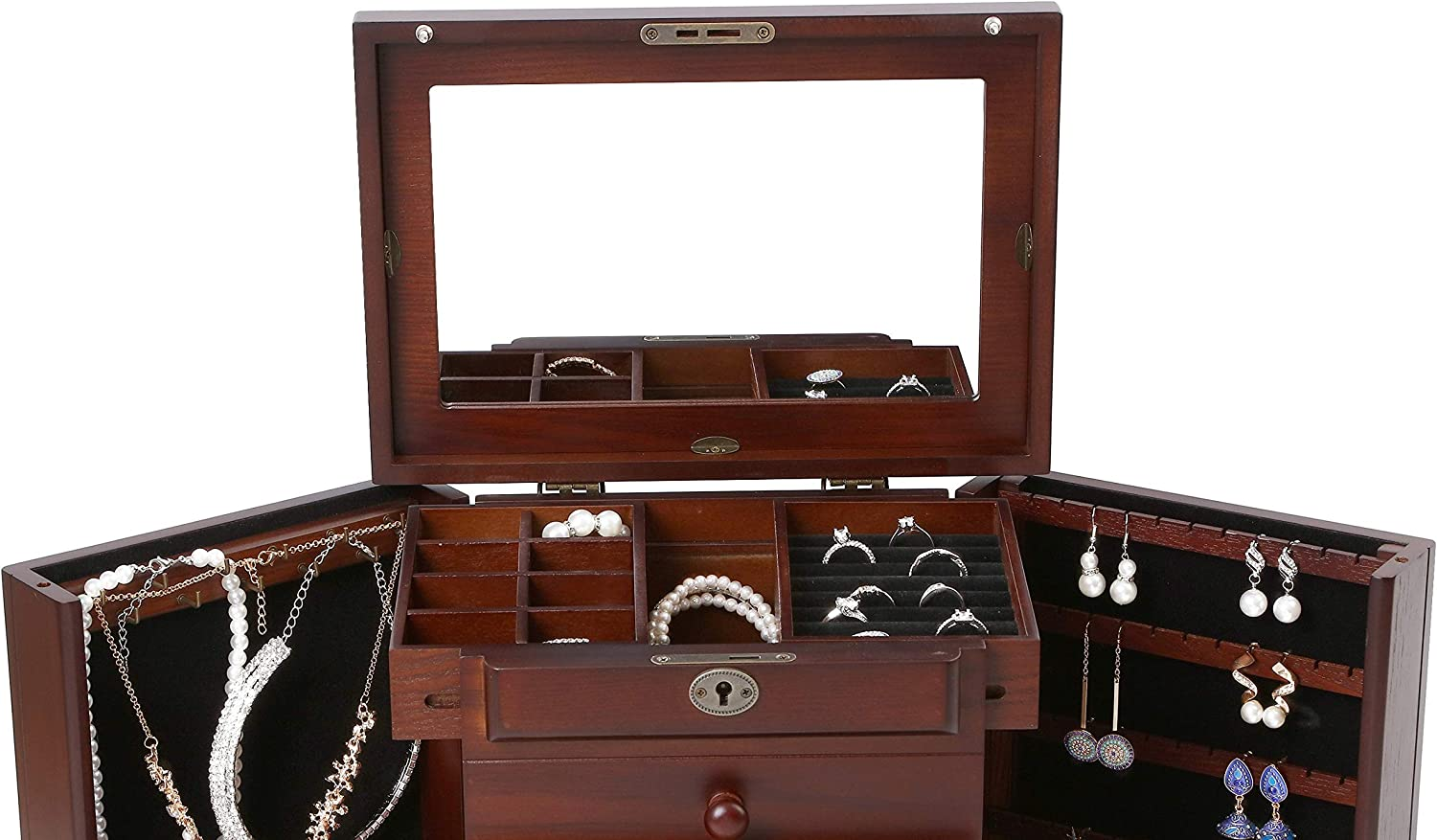 Double Door Drawer Jewelry Storage Box 10.8L x 8.3W x 12H inch Brown Large Wooden Jewelry Box Built-in Mirror and Lock