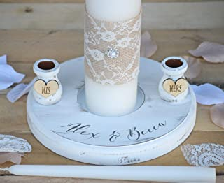 Rustic Wedding Candles - Rustic Unity Candle Set - Wedding Unity Candle - Wedding Unity ideas - Wedding Candles with Burlap and Lace