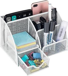 حقيبة لوازم المكتب شبكية معدنية لتنظيم لوازم سطح المكتب من شركة فانيرا، منظم مستلزمات المدرسة لتخزين الأغراض و6 مقصورات مع...