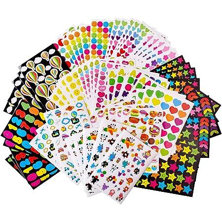 80 Feuilles Gommettes Enfant Autocollants Stickers Colorés pour Scrapbooking DIY Cadeau