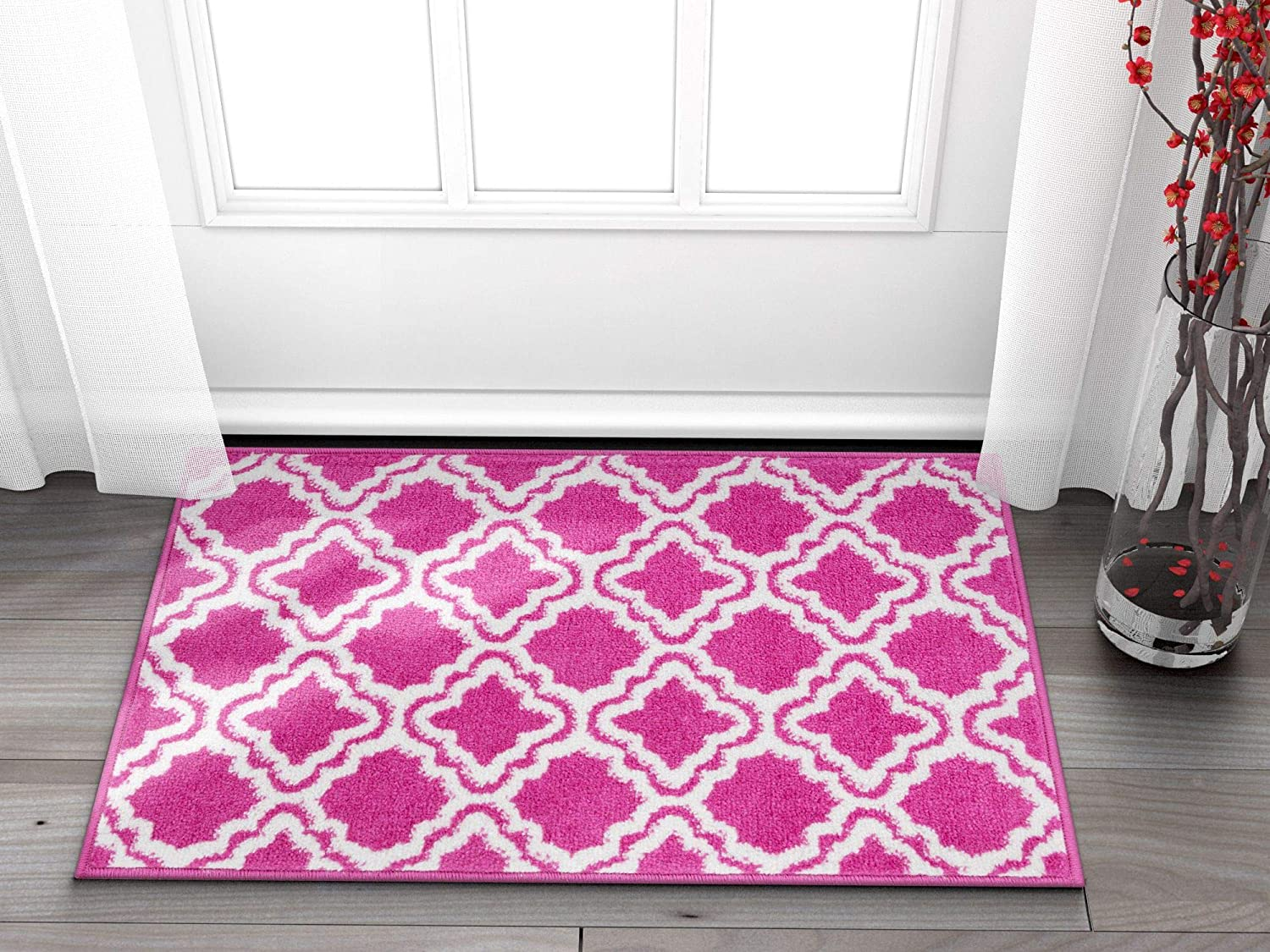 Well Woven Small Rug Mat Doormat Modern Kids Room Kitchen Rug Calipso Pink 1'8  x 2'7  Lattice Trellis Accent Area Rug Entry Way Bright Carpet Bathroom Soft Durable