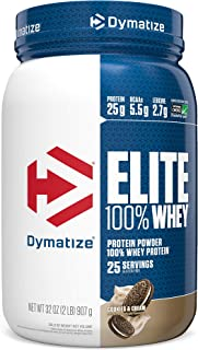 Dymatize Elite 100% Whey Protein Powder, Take Pre Workout or Post Workout, Quick Absorbing & Fast Digesting, Cookies & Cream, 2 Pound