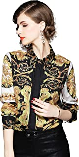 Women's Baroque & Floral Print Blouse Long Sleeve Button up Shirt Top