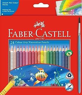 Faber-Castell Grip Watercolour Pencils, Boxof 24 plus Brush, (16-116243)