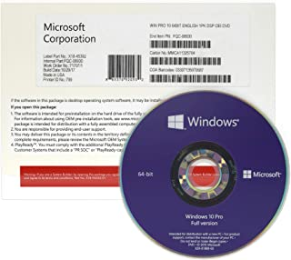 Windows 10 Pro 64 bit OEM DVD - English - Full Version - OEM Windows 10 Professional 64 bit