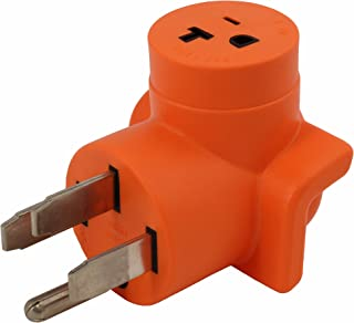 AC WORKS [AD1450520] Plug Adapter NEMA 14-50P 50Amp Range/RV/Generator Outlet to Household 15/20Amp 125Volt T-Blade Female Connector