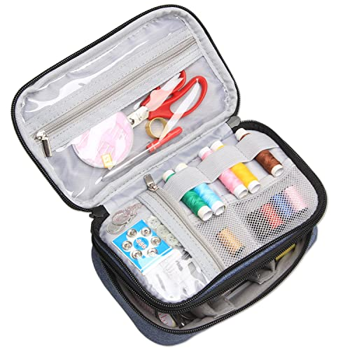 Travel Mini Sewing Kit DIY Sewing Supplies for Home Blue Scissors Travel /& Emergency Filled with Mending and Sewing Needles Thread etc by TheBigThumb