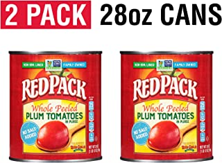 Redpack No Salt Added Whole Peeled Plum Tomatoes in Puree, 28oz Cans (Pack of 2)