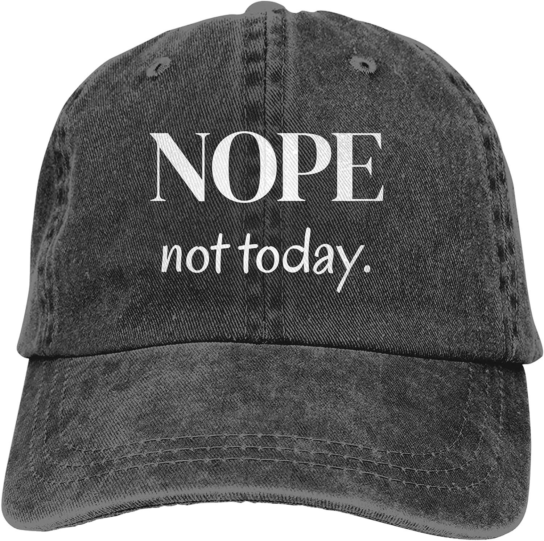 Nope Not Today Hat, Vintage Denim Baseball Cap Cotton Dad Hat Adjustable Sandwich Hat Unisex