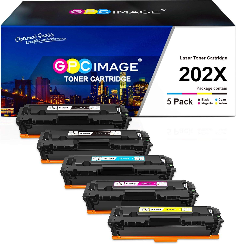 GPC Image Compatible Toner Cartridge Replacement for HP 202X 202A CF500X CF500A to use with Laserjet Pro MFP M281fdw M254dw M281cdw M281 M281dw M280nw Toner Printer Tray (5 Pack)