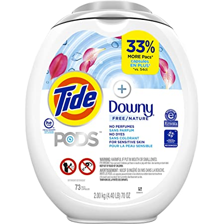 Tide Pods +Downy Free, Liquid Laundry Detergent Pacs, 73 Count