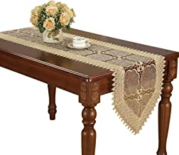 Simhomsen Beige Lace Table Runners and Dresser Scarves Embroidered Beige Leaf 16 by 84 Inch