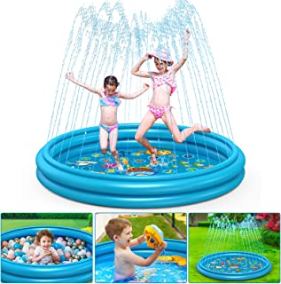 """Sponsored Ad - Coolkesi 3-in-1 Splash Pad, Premium Sprinkler for Kids Toddlers - 22% Thicker Durable PVC, 60"""" Inflatable W..."""