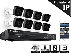 LaView HD 8 Channel (2688 x 1520) Business & Home NVR Security System  W/ 8 Indoor/Outdoor 4MP Bullet IP POE Surveillance Cameras HD 100ft Night Vision 2TB HDD