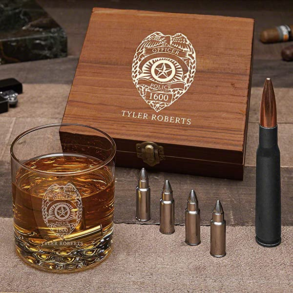 Police Badge Personalized Whiskey Gift With Buckman Glass Custom Product