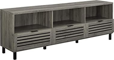 """Walker Edison Furniture Company Modern Slatted Wood 80"""" Universal TV Stand for Flat Screen Living Room Storage Cabinets and Shelves Entertainment Center, Slate Grey"""