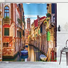 Ambesonne European Shower Curtain, Venice Cityscape Narrow Water Canal Building Traditional Old Buildings Heritage, Cloth Fabric Bathroom Decor Set with Hooks, 75 Long, Orange Blue