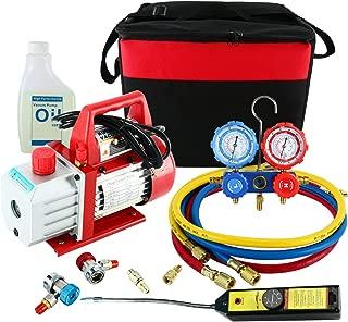 YAETEK 4CFM 1/3HP Rotary Vane Air Vacuum Pump HVAC A/C Refrigeration Kit AC Manifold Gauge Set w/Leak Detector R410a R134a R12 R22 R404