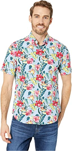 Short Sleeve Oxford Printed Classic Fit Sport Shirt