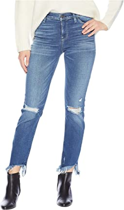 Nico Mid-Rise Cigarette Raw Hem Jeans in Riviera