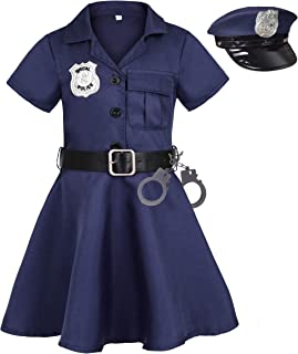 Heay Girls Police Costume Halloween Dress up Cop Costume for Kids