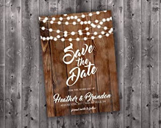 Save the Date Cards Printed, Save The Date Wedding Invite, Affordable, Cheap, Lights, Calendar, Wood, Rustic, Postcard, Country, Photo