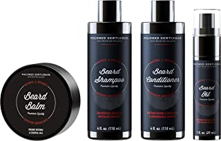 Beard Growth Shampoo Grooming Kit for Men - with Beard Wash and Conditioner - Best Beard Softener Set, Beard Balm, Beard Oil, Rapid Beard and Hair Growth (4oz)