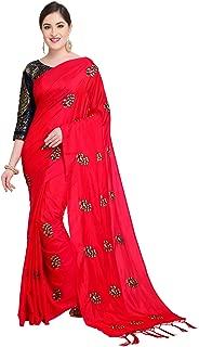 Women's Silk Embroidered Saree With Contrast Banarasi Jacquard Blouse Red