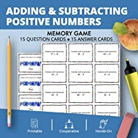 Adding & Subtracting Positive Integers Math Memory Game