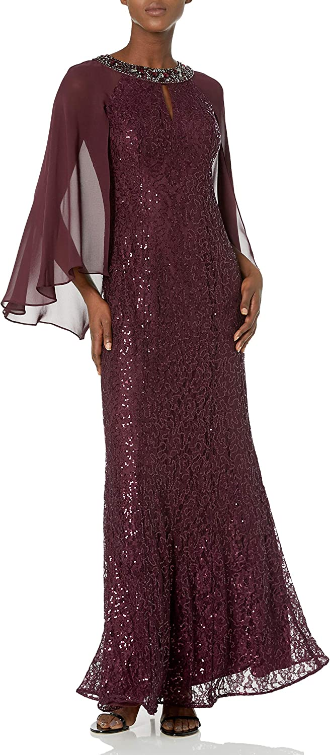 S.L. Fashions Women's Long Sequin Dress with Capelet