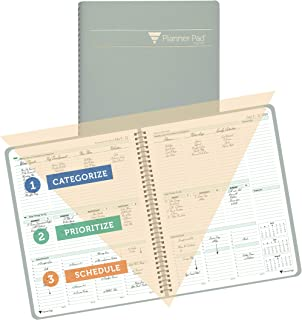 $31 » Sponsored Ad - Planner Pad Spiral Bound 3-Tier Funnel Down Organizer, Q3/Academic Year Start, Greenish Grey Cover/Soft Gre...