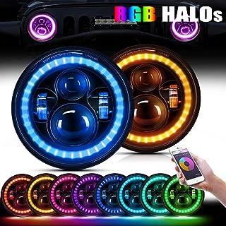 4XBEAM 7 Inch RGB Halo LED Headlights for Jeep Wrangler JK LJ TJ CJ Hummer H2 H1 Sahara Sport Rubicon | DOT Approved | Instructions Included